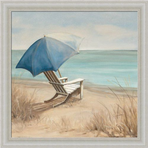 Summer Vacation I By Carol Robinson Adirondack Chair Beach Scene Art Print Framed Picture