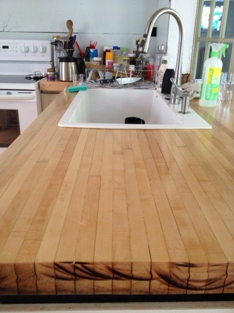 Countertop Made From Reclaimed Bowling Alley Lanes This Homeowner Shares Their Trial And Errors Of Turning The Lane Into An Awesome Counter