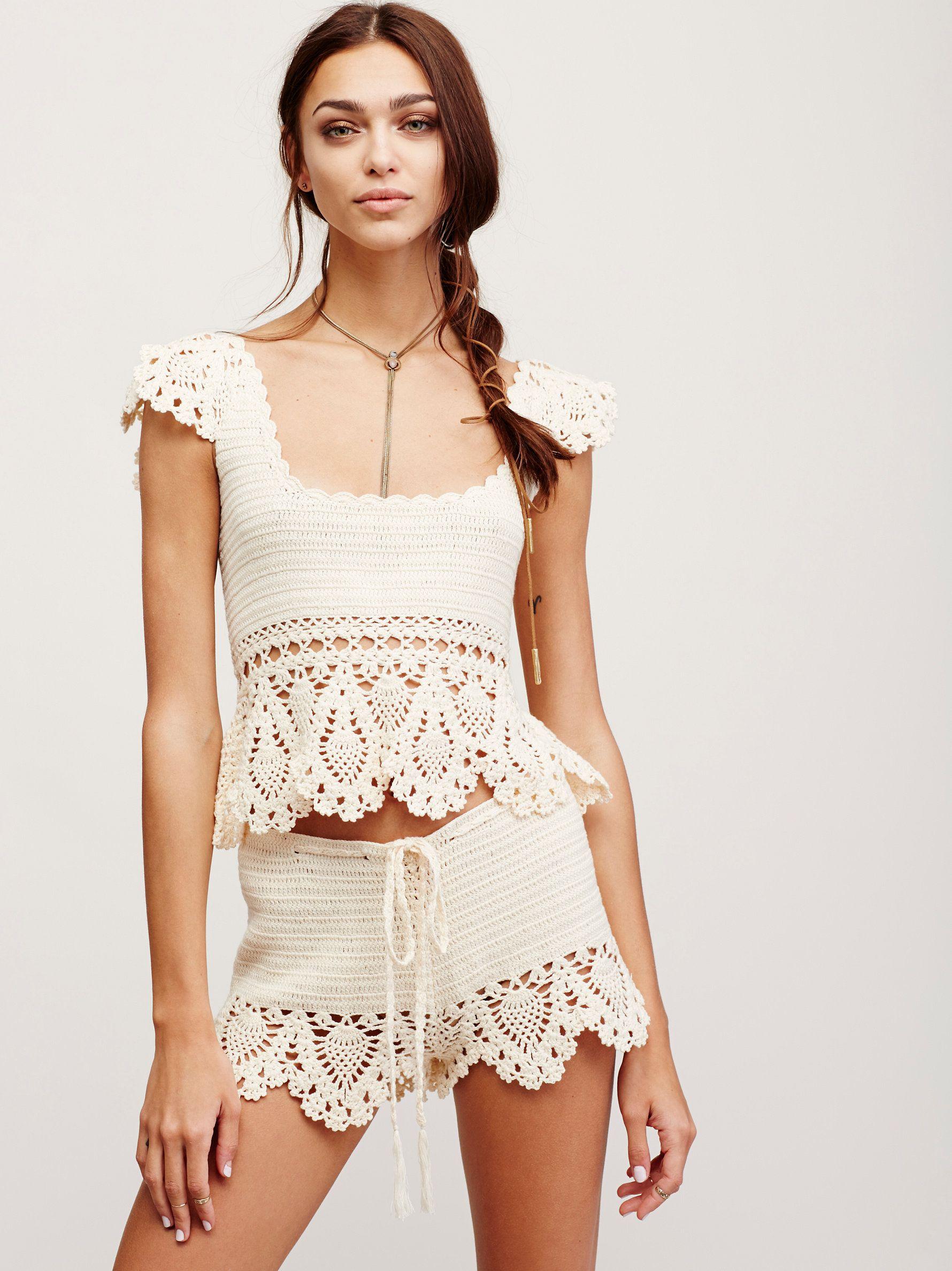 Crochet Babe Top | Cotton crochet crop top featuring scalloped trim along the…