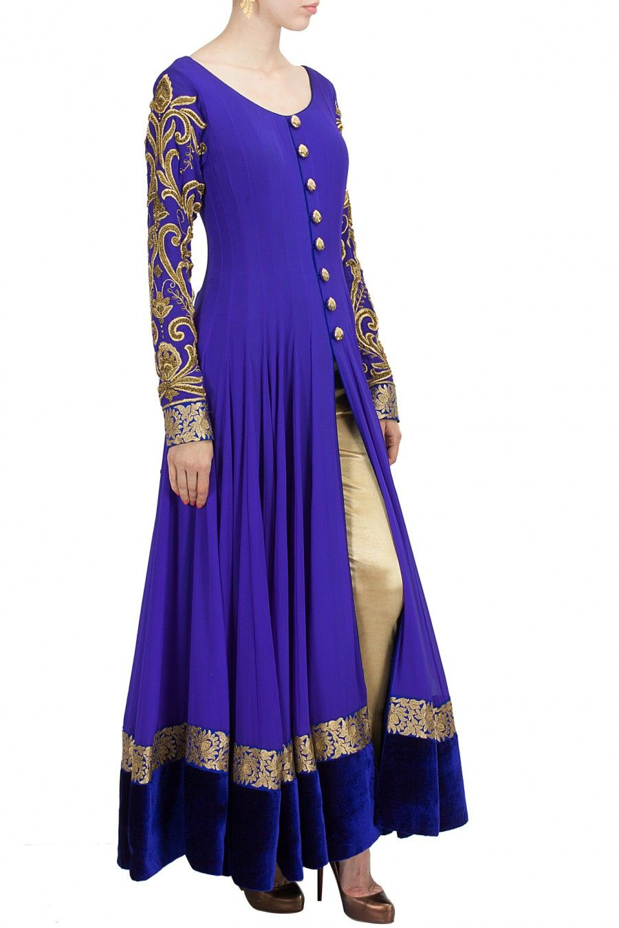 Royal blue embroidered anarkali set available only at Pernia\'s Pop ...