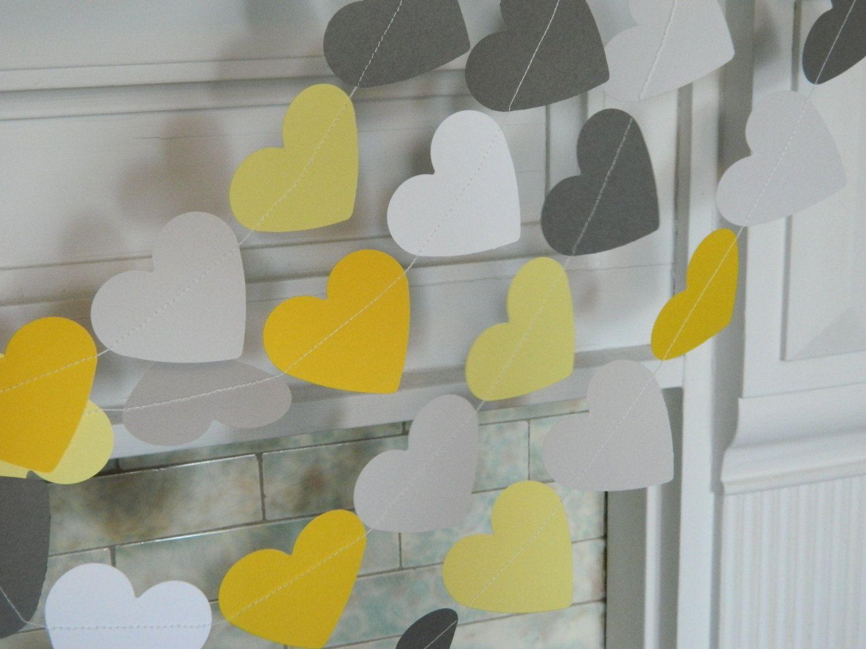 Wedding decorations yellow and gray  Yellow u Gray Paper Hearts  Gray and Yellow Wedding garland