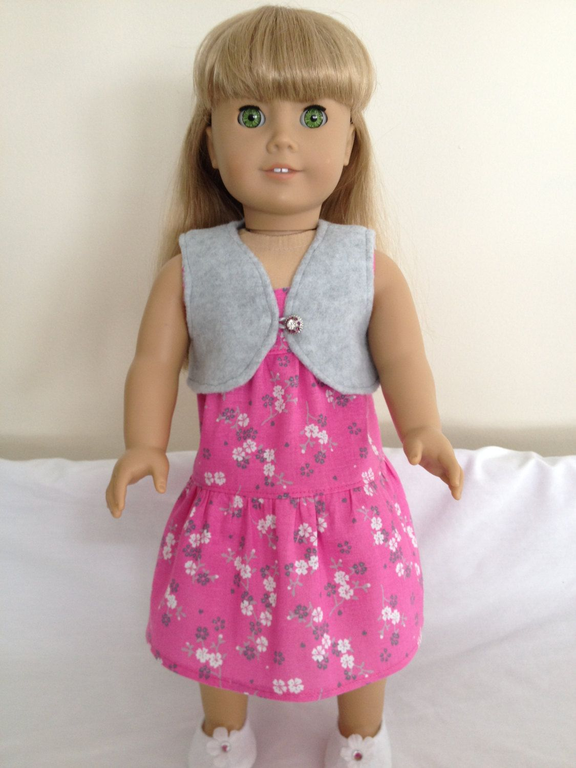 American Girl Doll Clothes Handmade Dress, Sleeveless, Pink and Gray Floral Print, Gray Fleece Shrug $20.00 by LeslieNLaura on Etsy
