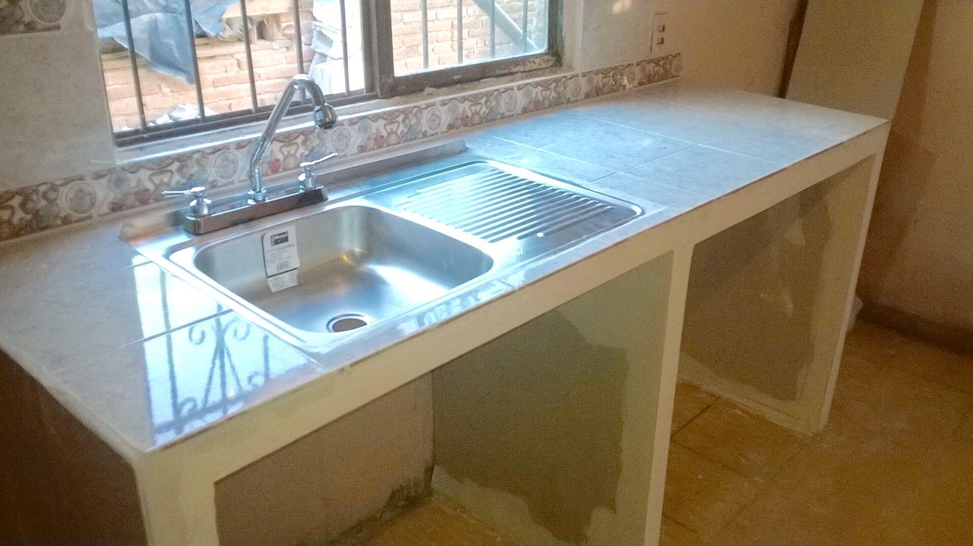 Barra De Cocina Tarja Y Azulejo Cte Maria Olivas Cocina De