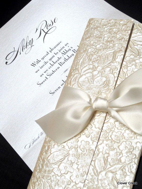 Ivory Floral Clutch with satin ribbon. clovercreek.com