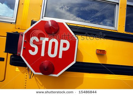 STOP for school buses when red loading lights are flashing!!