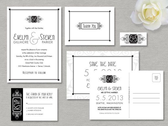 Vintage Glam Wedding Invitations: Printable Hollywood Glamour Wedding Invitation Suite, Art