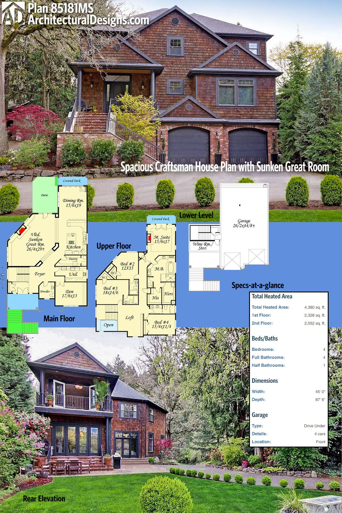 Architectural Designs Craftsman House Plan 85181MS has