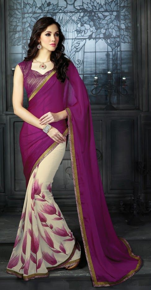 87954a3d71 Go Gorgeous with New Purple Lace Work Party Wear #Saree . Grab this beautiful  designer