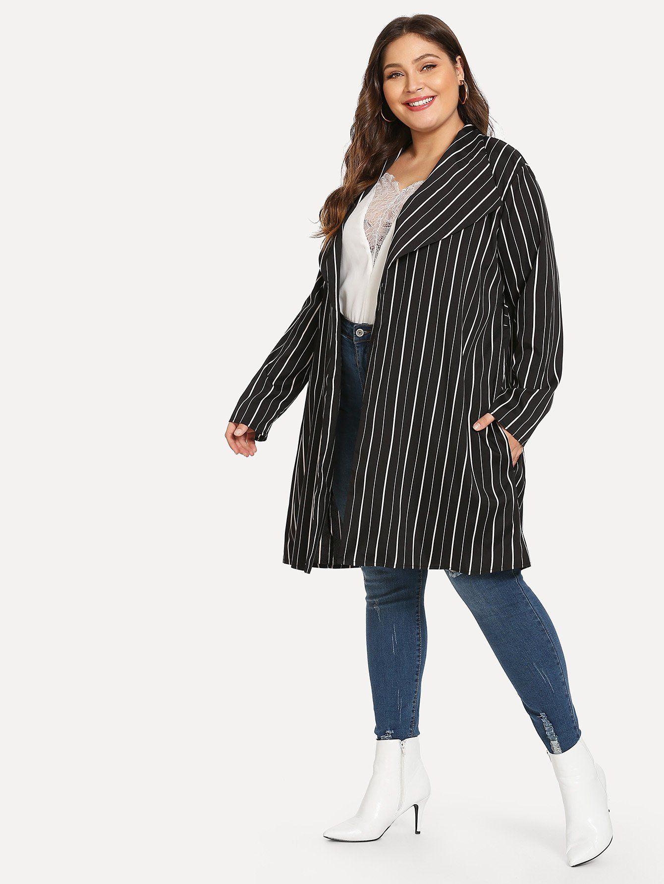 41fb574165e3a Plus Vertical Stripe Longline Coat