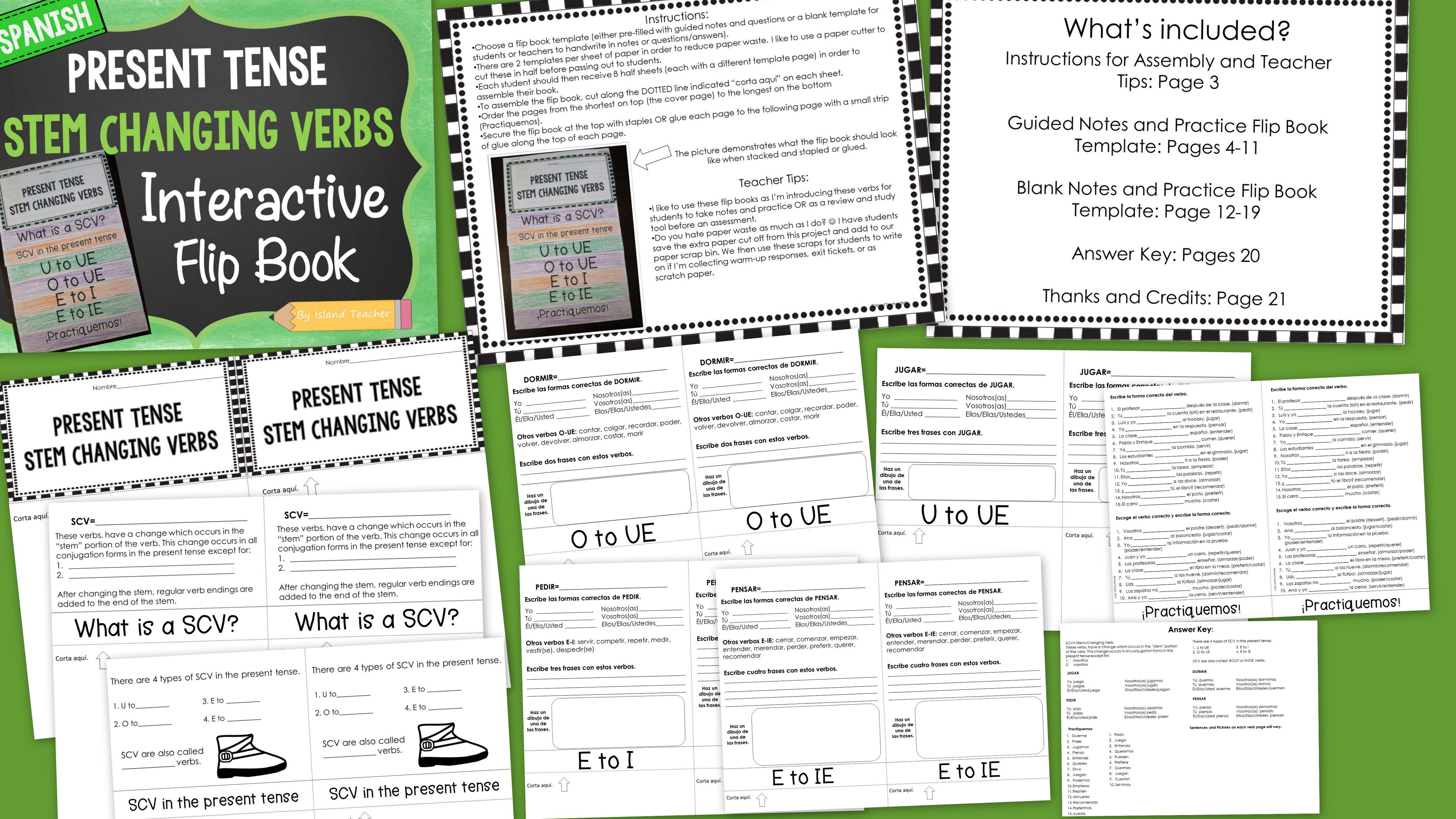 Stem Changing Verbs Spanish Interactive Flip Book By Island Teacher Teachers Pay Teachers Flip Book Flip Book Template Interactive [ 2880 x 5120 Pixel ]