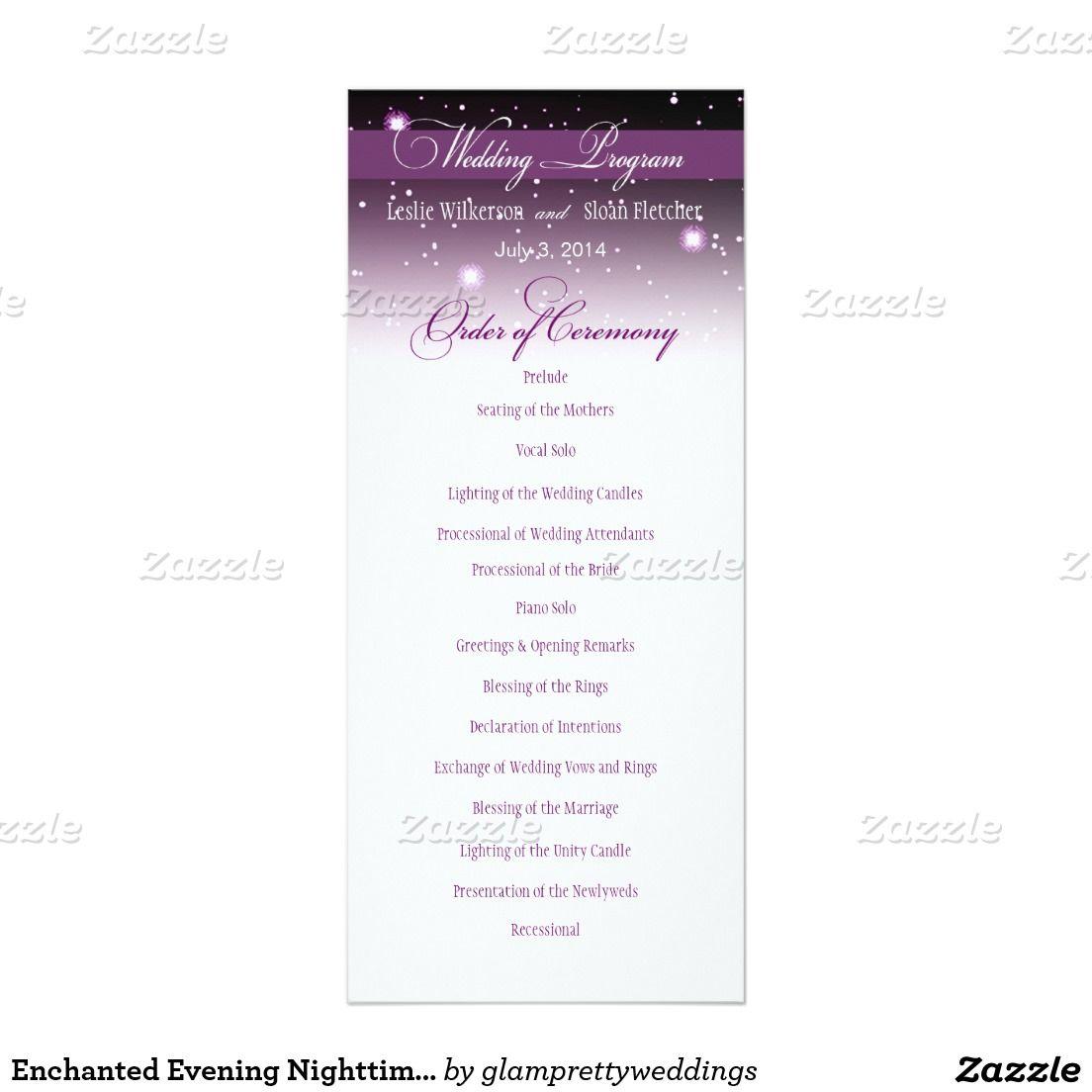 Enchanted Evening Nighttime Wedding Program 4x9.25 Paper ...