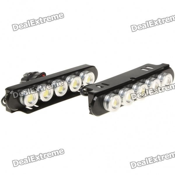 Super bright white LED light increases driving safety and warning effect - Voltage: 12~14.5V - Current: 1.2A - Power: 5 x 1W - Color temperature: 6000K - Luminous flux: 90LM - Life: 50000~80000 hours - Package includes: 2 x daytime running lights & power cable http://j.mp/1totzsZ