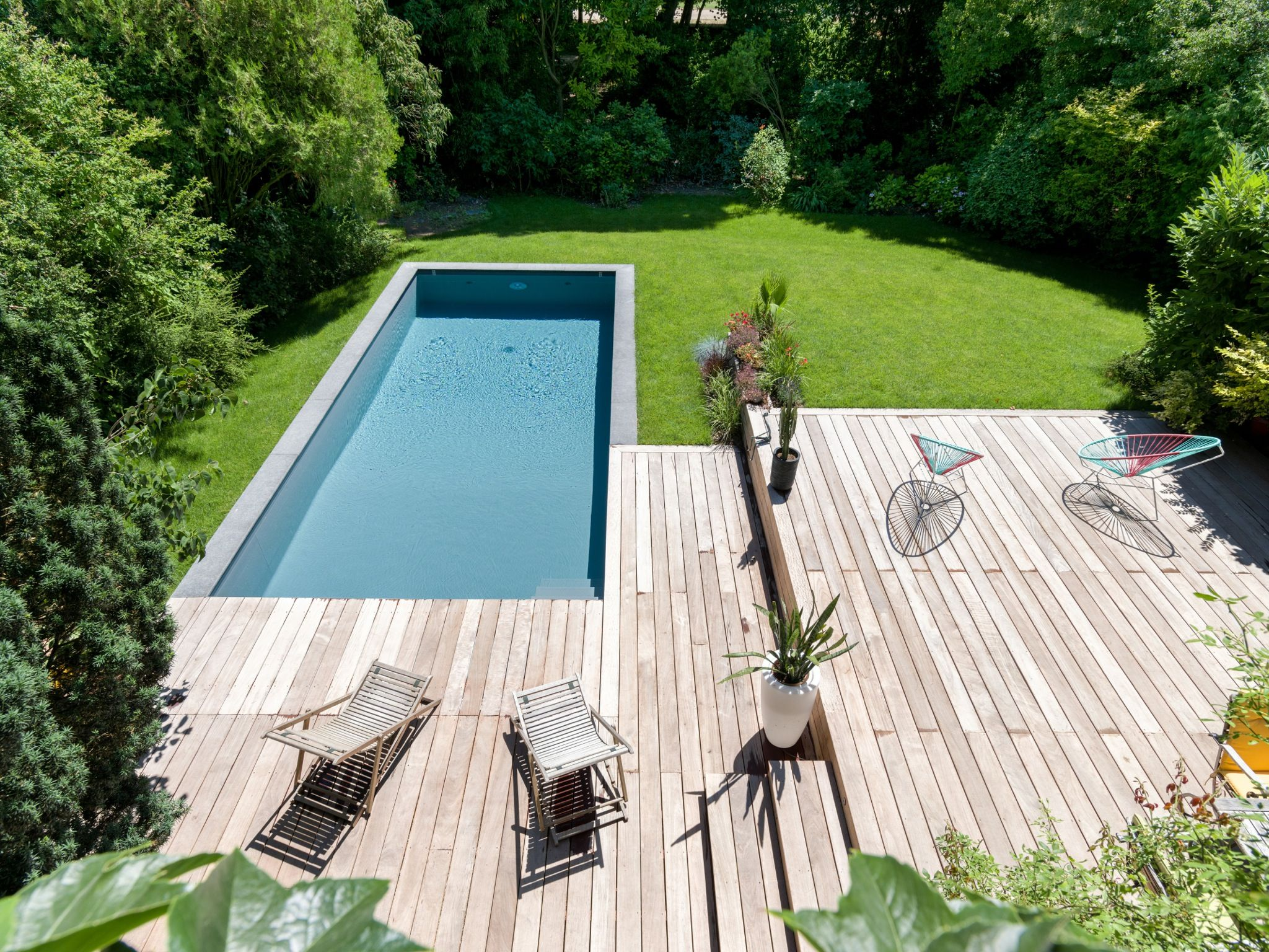 piscine bois fond pente