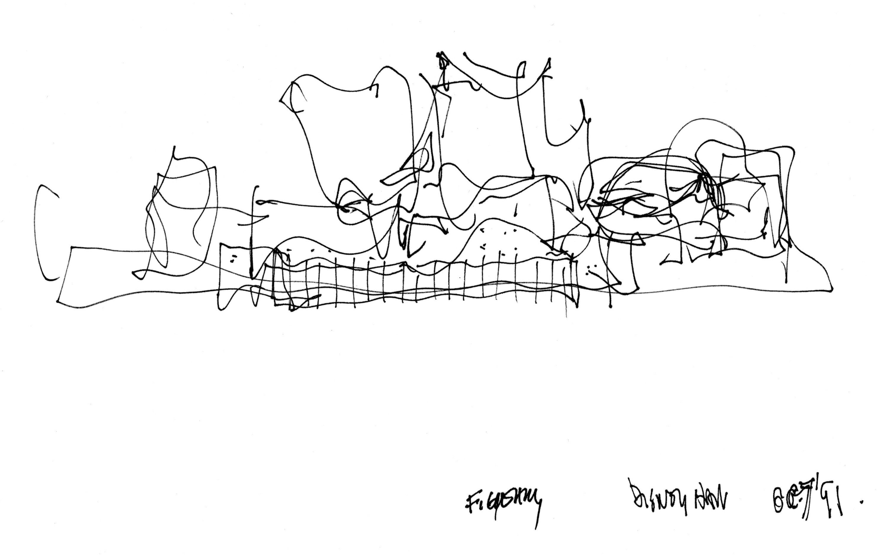 Sketch By Frank Gehry Of The Walt Disney Concert Hall