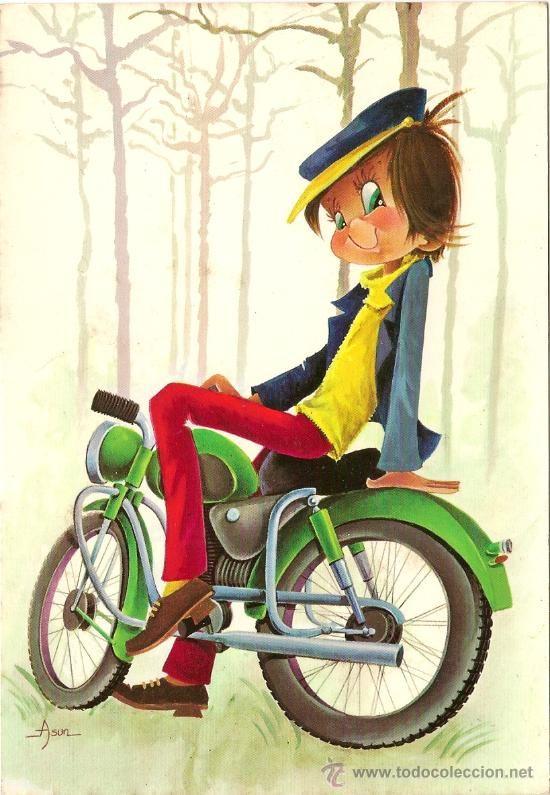 Interesante postal: divertido dibujo - joven en moto - C