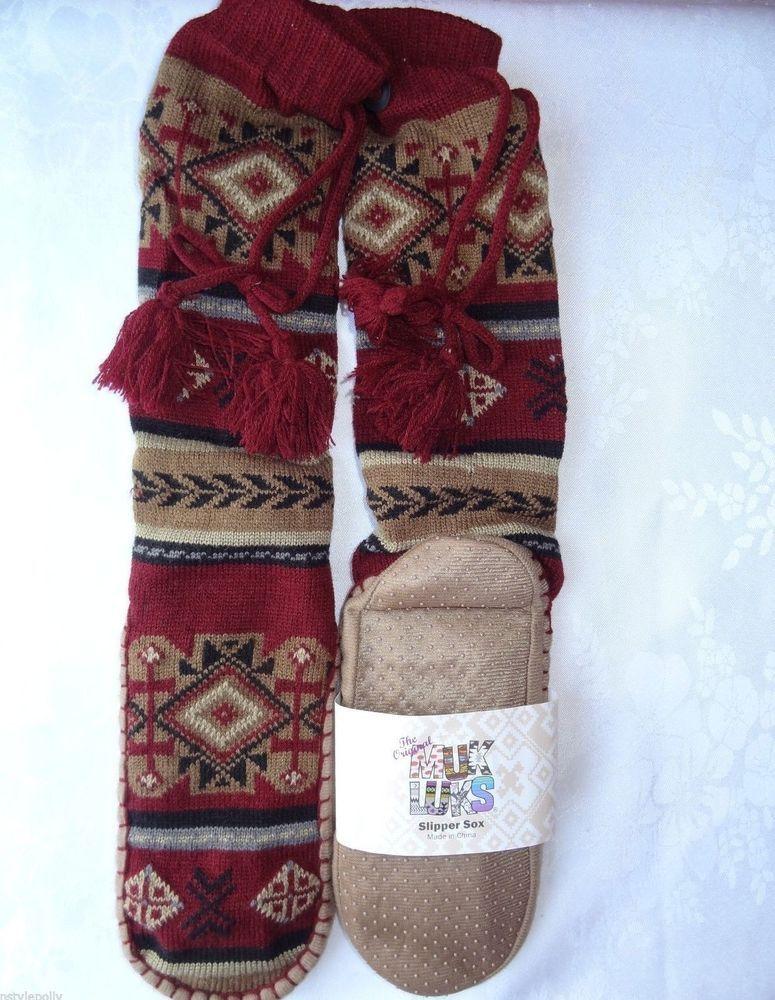 Womens Tall Nordic Knit Sweater Slipper Socks MUK LUKS DK RED NEW Sz S/M 7-8  #MukLuks #SlipperSOX