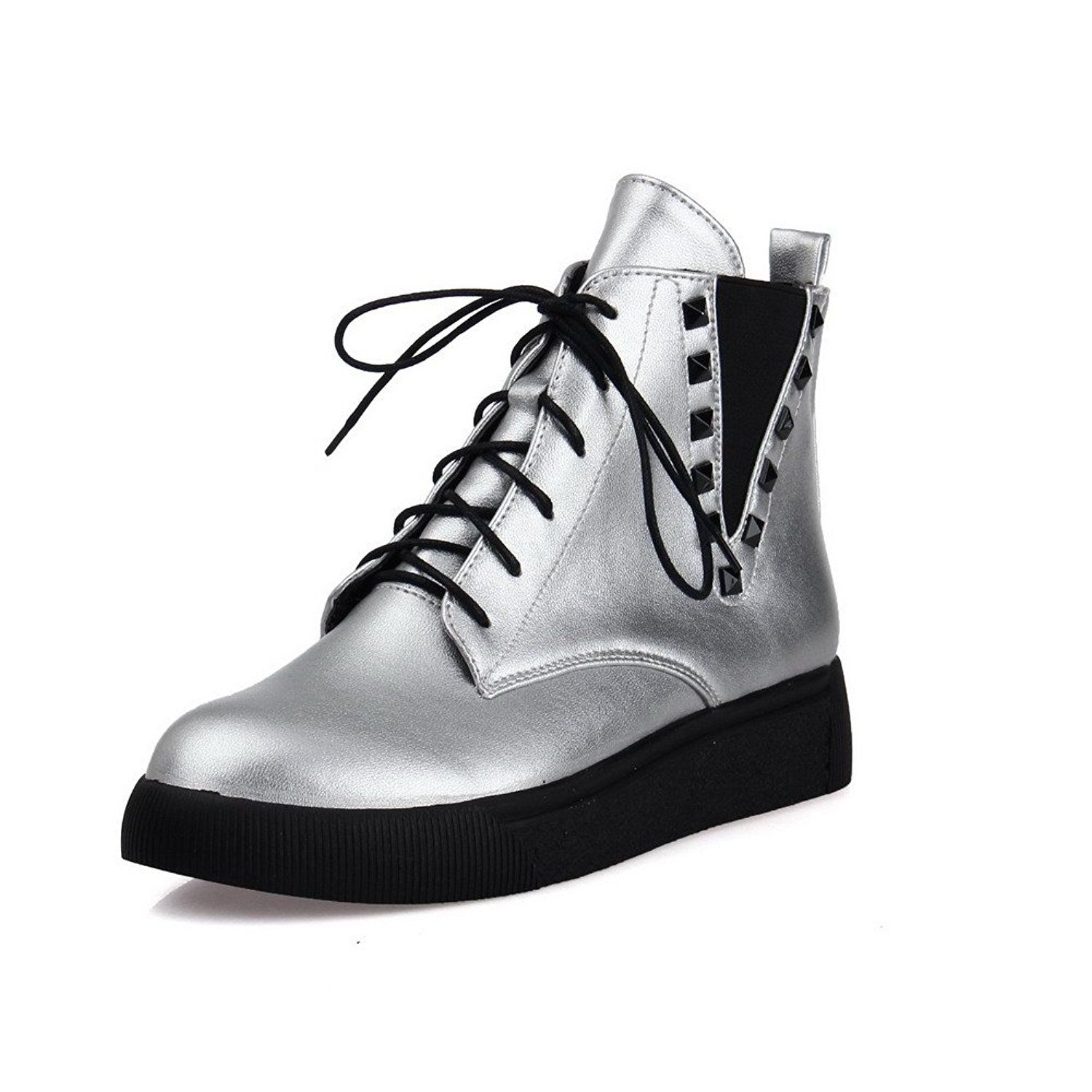 WeiPoot Women's Soft Material Round Closed Toe Solid Low top Low-Heels Boots * Find out more about the great product at the image link.
