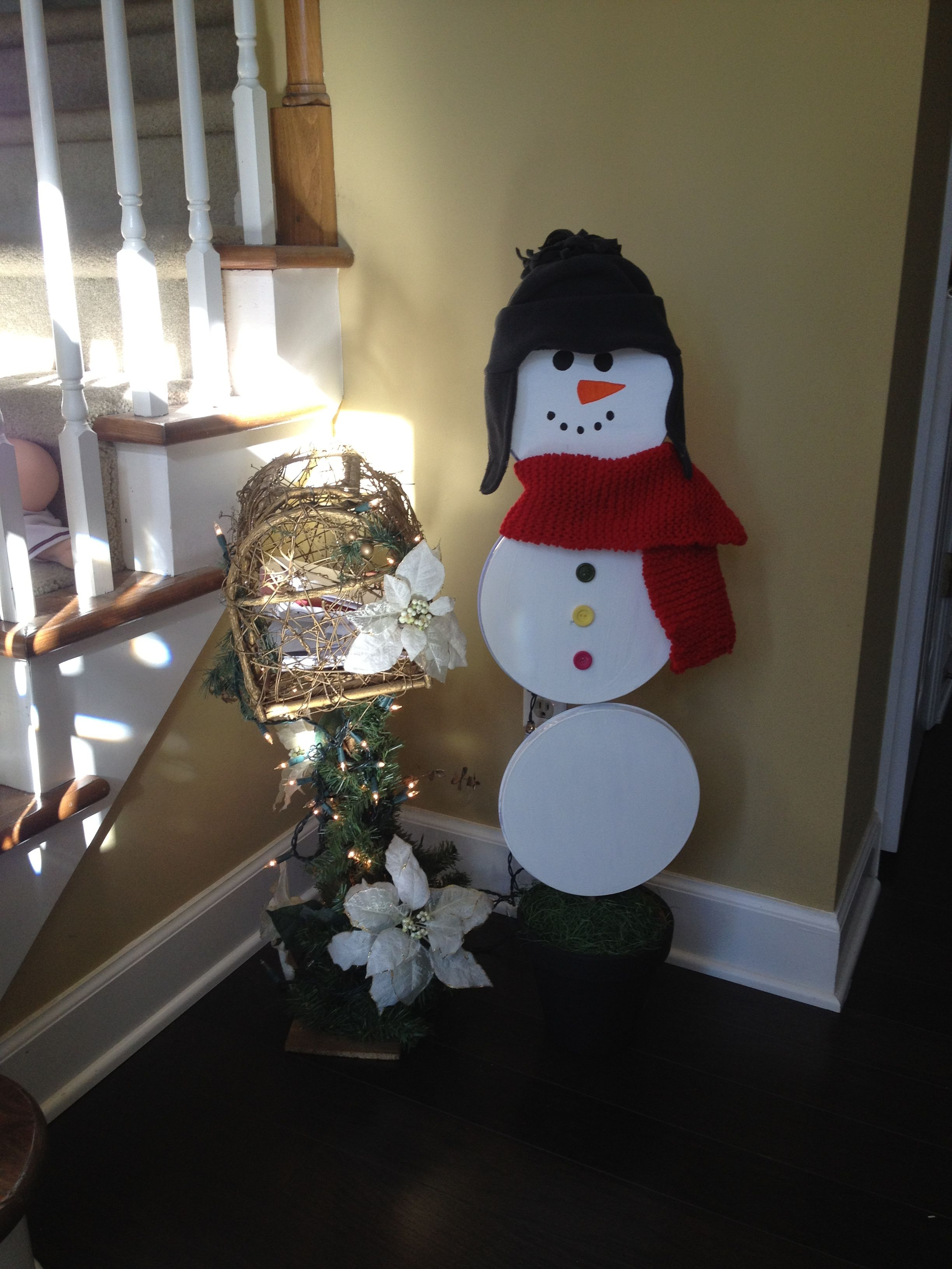 Snowman Made From Stove Burner Covers Super Saturday