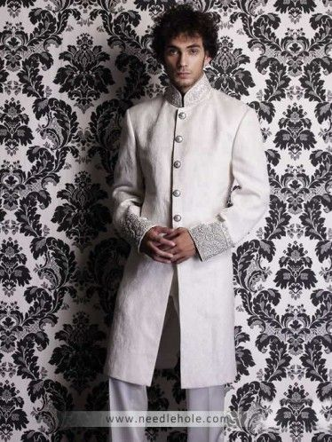 Day By Wearing This Pakistani Bridal Sherwani Needlehole Off White Mens Embellished Collar And Sleeves CuffsWN09pzt97Dd