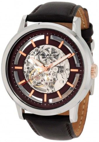 Kenneth Cole KC1718 Brown and Rose Gold Automatic Skeleton Watch For Men