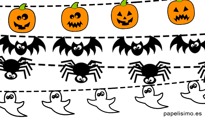 Arañas De Halloween Para Colorear: Guirnaldas-de-halloween-para-recortar-murcielagos
