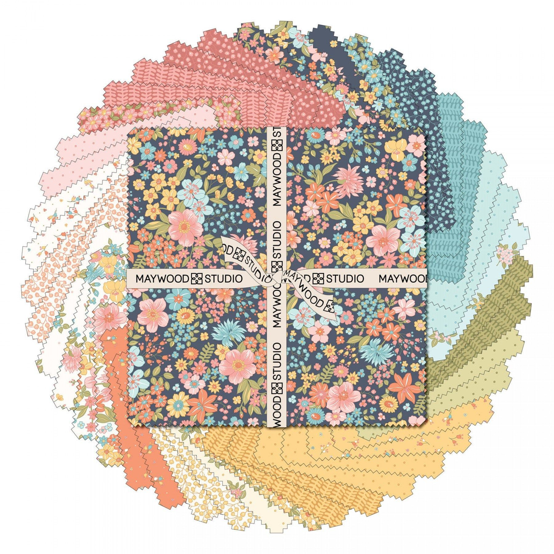 Sunlit Blooms Layer Cake Sq Massub Blue Pink Green Yellow Floral Layer Cake Fabric 10 Inch Precut Fabric Squares Maywood Studio In 2020 Precut Fabric Squares Fabric Squares Quilt Shop