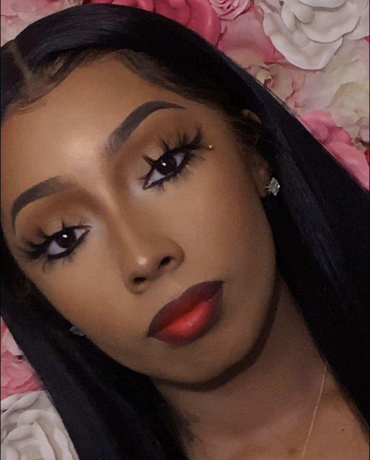 Soft Glam w/ Bold Lip in 2020 Dark skin makeup, Black