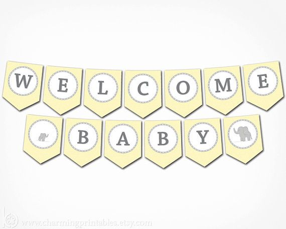 photo about Free Printable Baby Shower Banner named Elephant Youngster Shower Banner - PRINTABLE Banner - Do it yourself Electronic