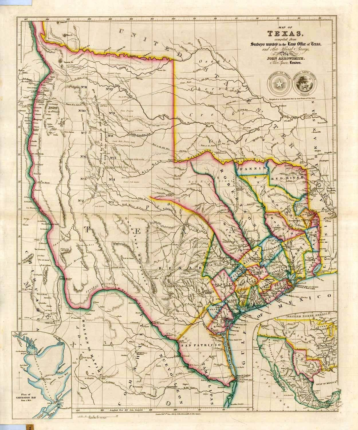 Map Of Texas Done In By John Arrowsmith Showing The - Texas political map
