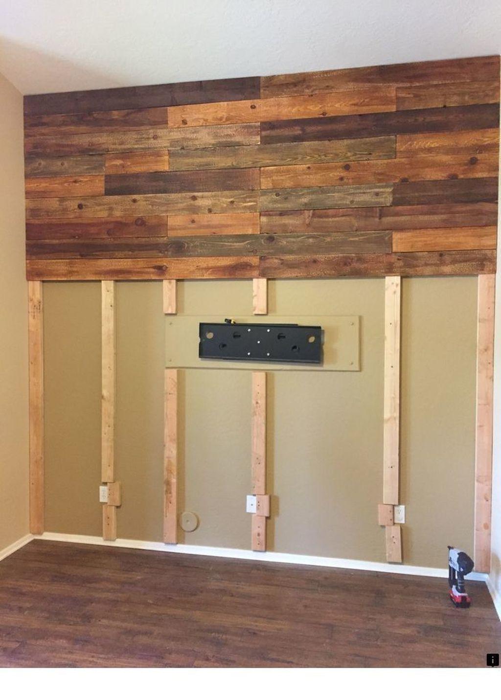 48 Wonderful Diy Pallet Wall Design Ideas To Beautify Interior Rustic Wood Wall Decor Wood Walls Living Room Rustic Wood Walls