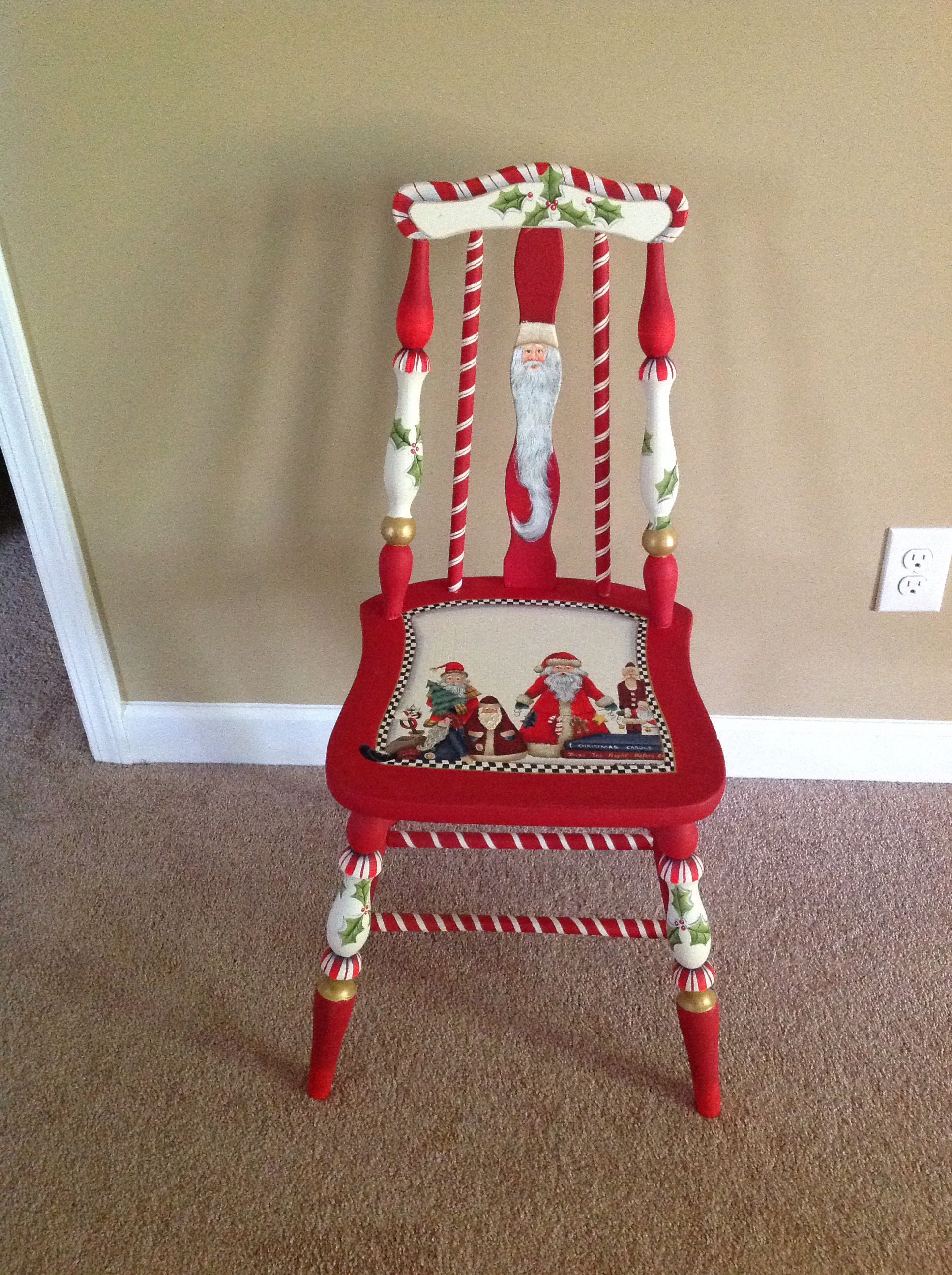 Hand painted chair pinned by the artist  Christmas ideas