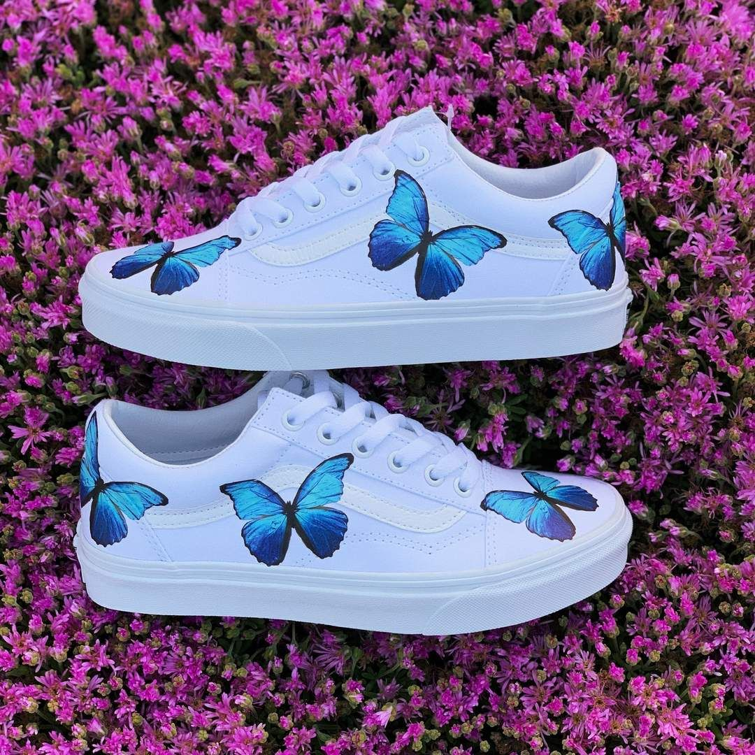 Super discount performance sportswear yet not vulgar Blue Butterfly White Old Skool | Shoes in 2019 | Custom vans ...