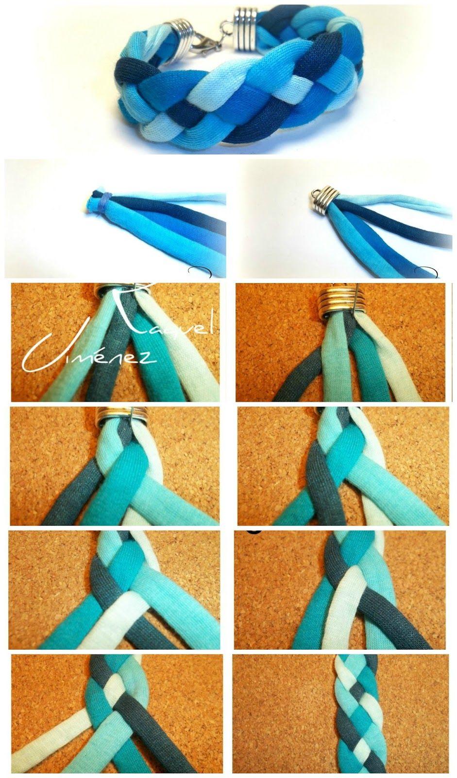 Diy Pulsera Con Trenza De Cuatro Cabos En Trapillo Tutorial Diy Friendship Bracelets Patterns Ankle Bracelets Diy Bracelets Handmade Diy