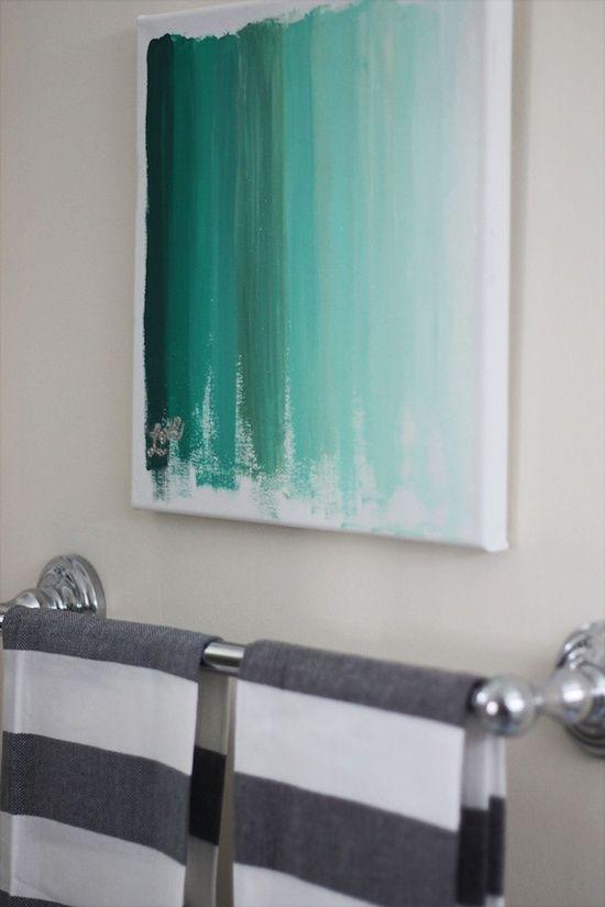 18 simple diy canvas wall hangings to brighten any room is part of Wall art diy easy - 18 Simple DIY Canvas Wall Hangings To Brighten Any Room Bathroomart DIY