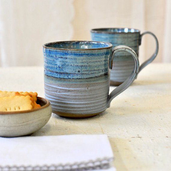 Large ceramic mugs set, BLUE MUGS, Big ceramic cups, Pottery mugs set, handmade mugs set, rustic mugs, Xmas gift #mugsset