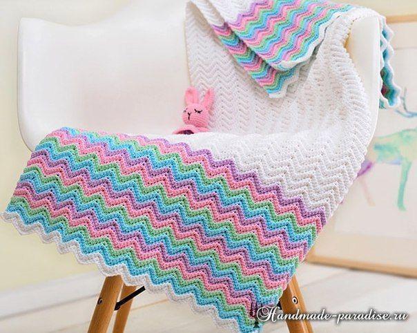 Patron para hacer una manta con punto zig zag para bebe | bebes ...