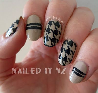 Nailed It NZ: Nude & Black Houndstooth stamping with BM-322 http://nailedit1.blogspot.co.nz/2013/01/nude-black-houndstooth-stamping-with-bm.html