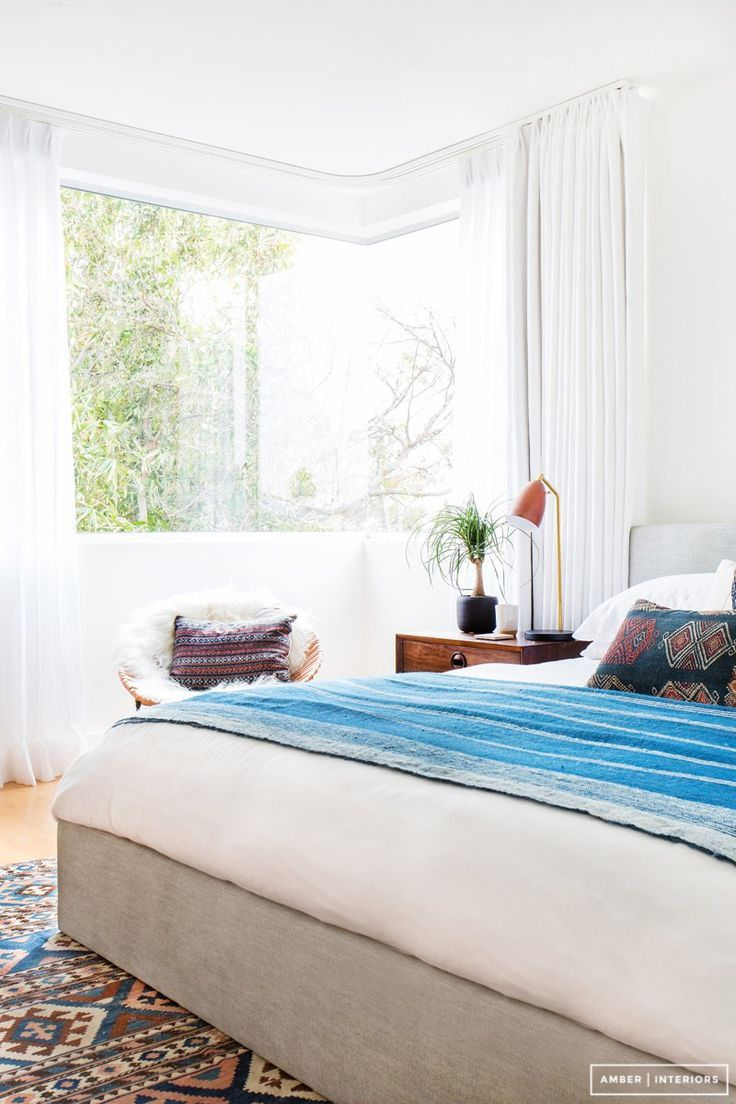 Bed on bay window   solutions for how to dress awkward windows  style by emily