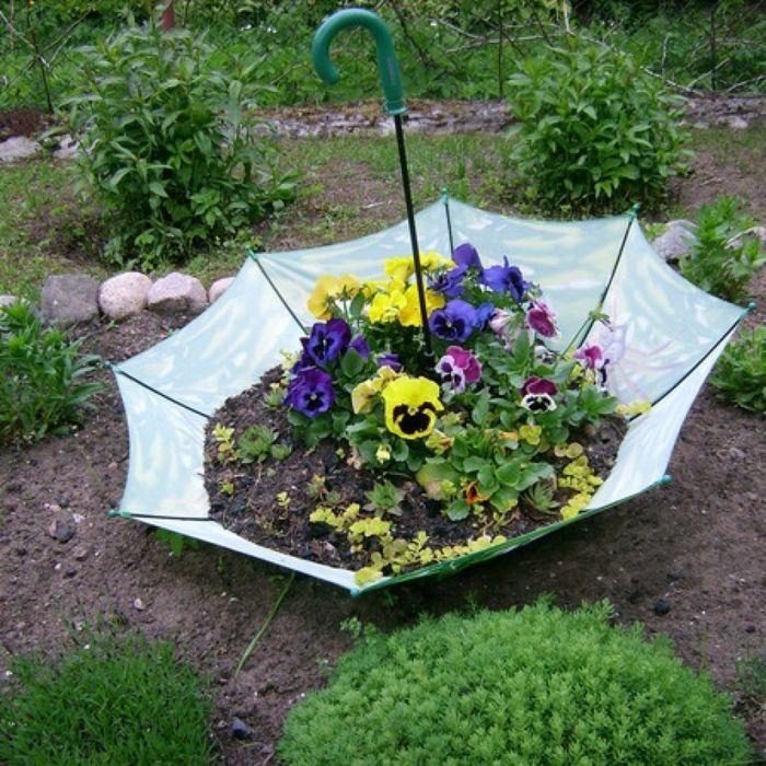 gartenideen regenschirm blumen | Сад и огород | pinterest, Garten Ideen