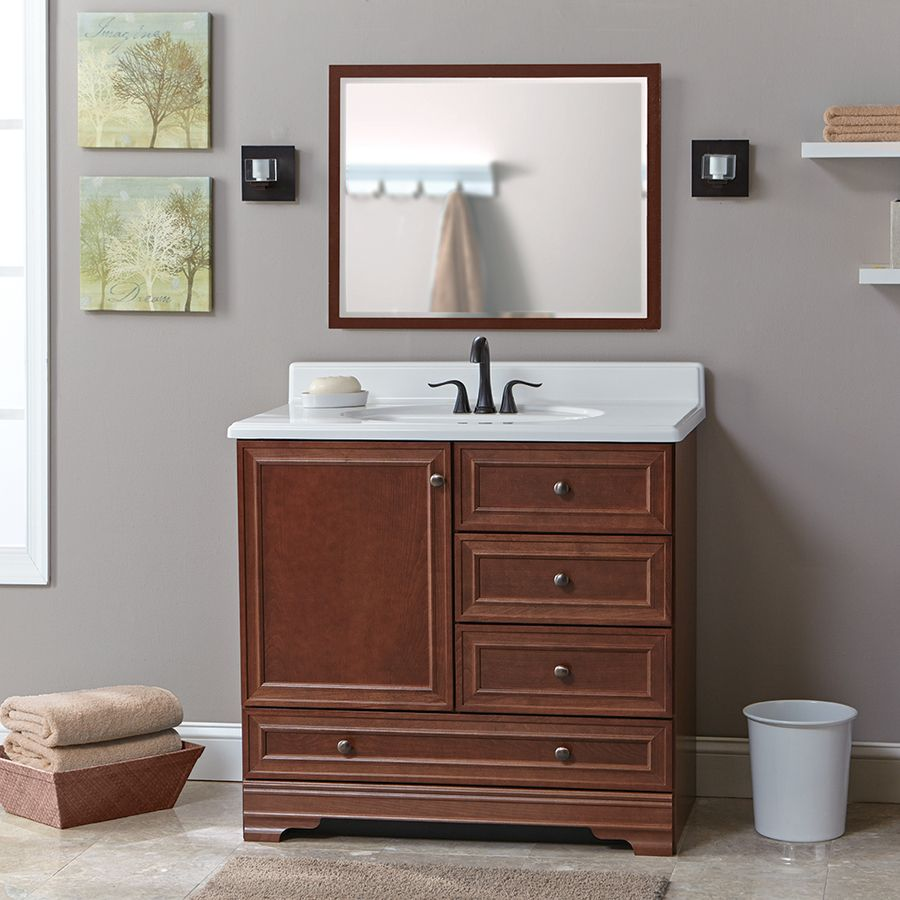 Shop Project Source Bark Traditional Bathroom Vanity (Common: 36 ...