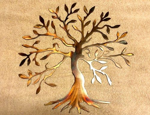 Metal Wall Art Plasma Cut Olive Tree Silhouette Home Decor | Plasma ...