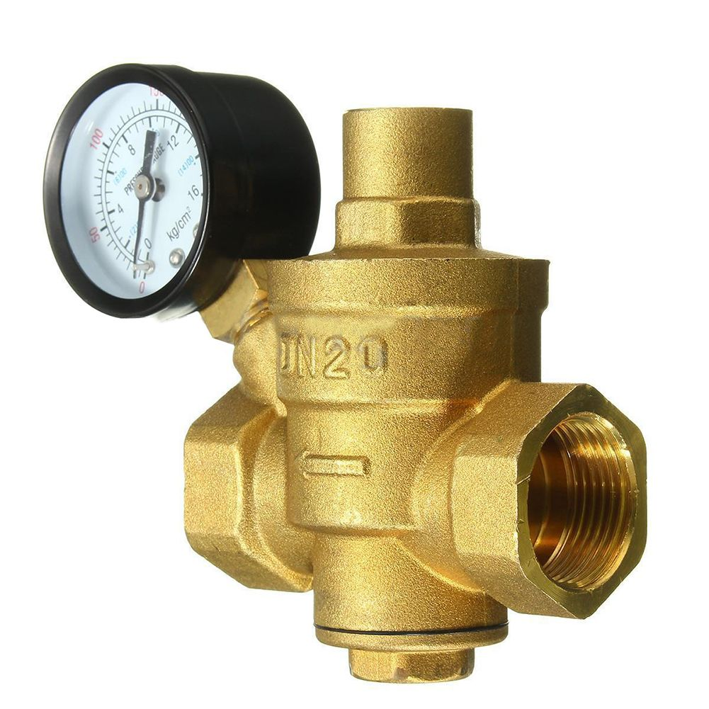 3 4 Inch Dn20 Adjustable Bspp Brass Water Pressure Reducing Valve With Pressure Gauge Brass Valve Hex Wrench