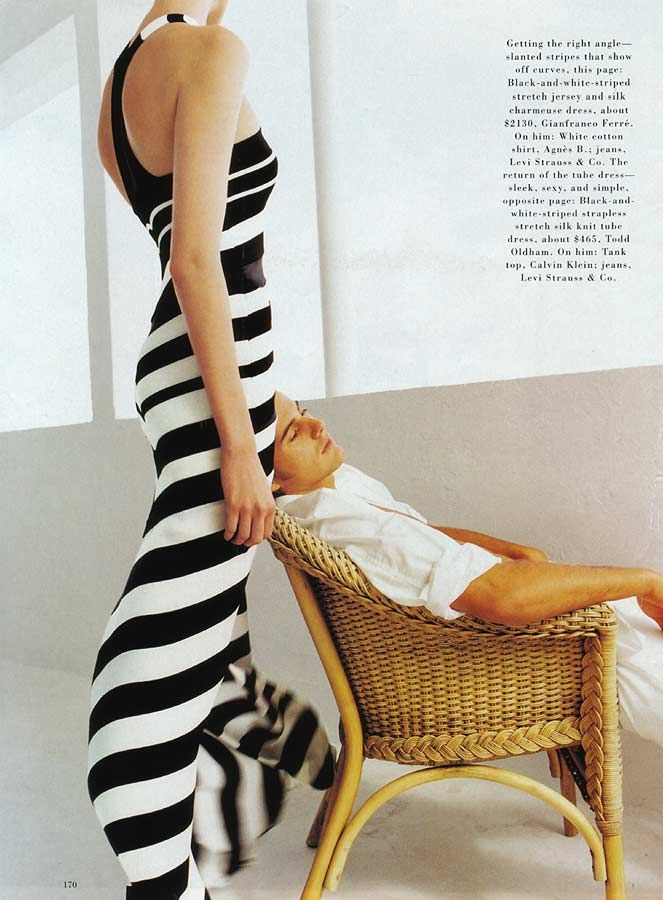 1990s Ferre jersey & silk charmeuse dress, black & white stripes.