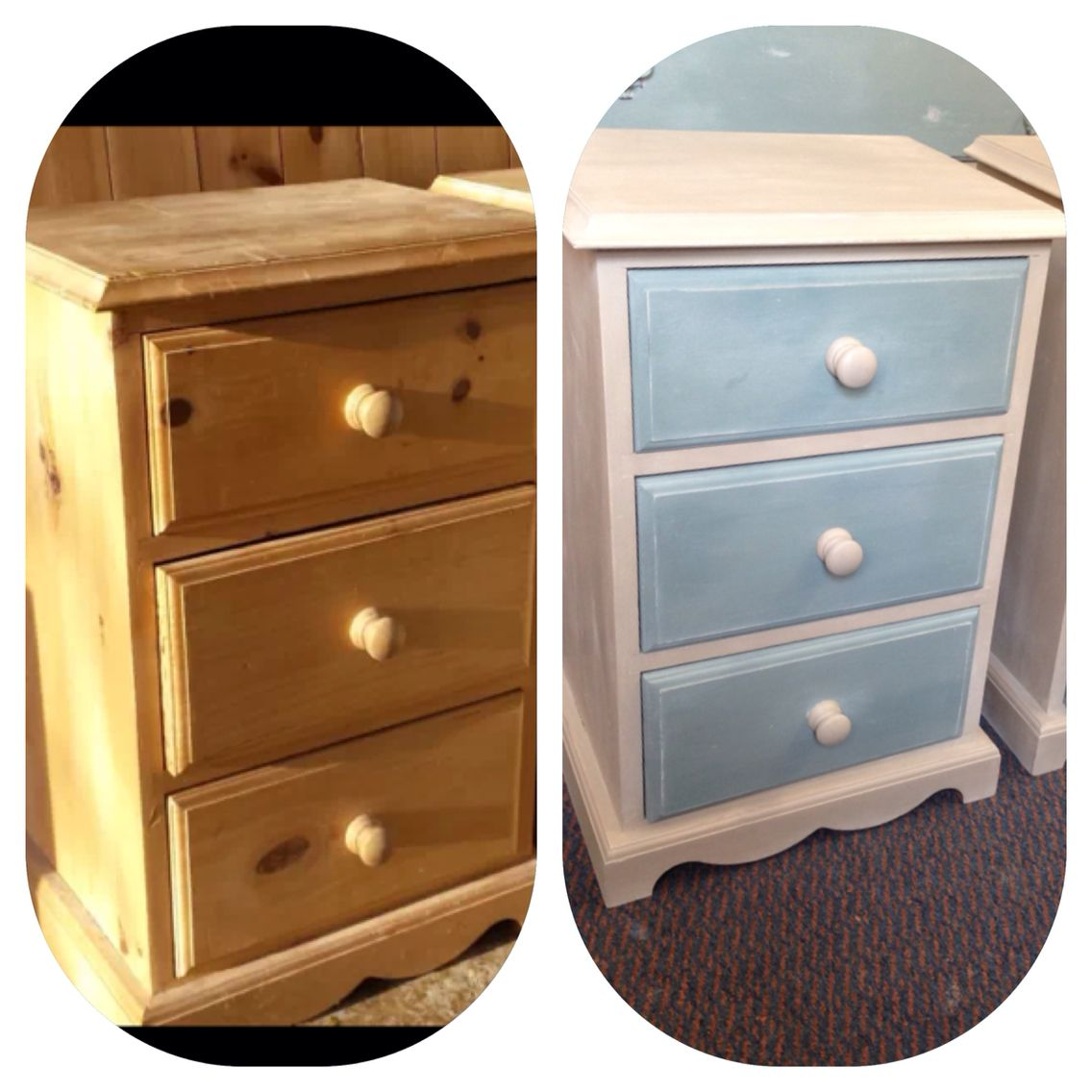 From that to this - painted in duck egg & country grey!