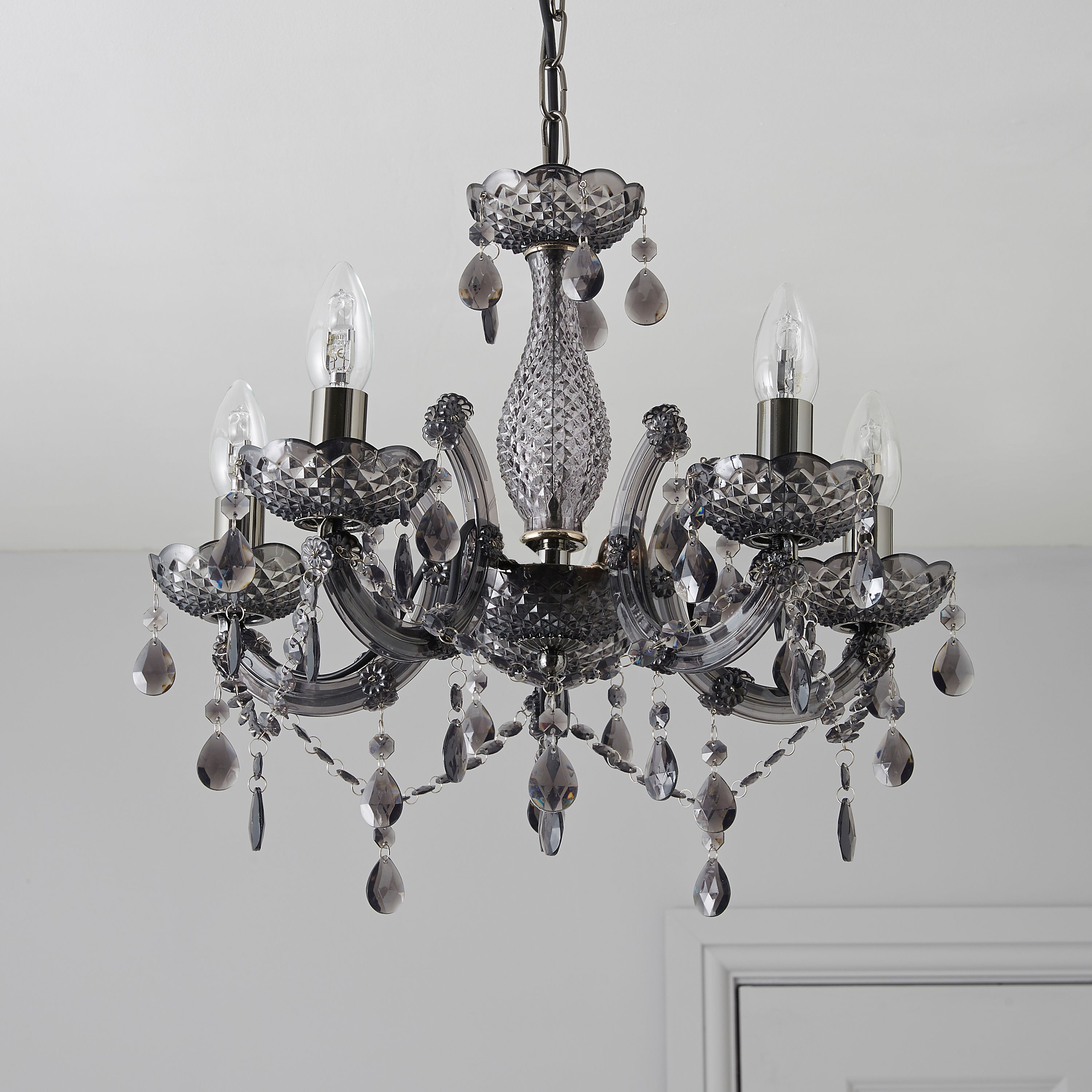 Bedroom Lights B Q: Annelise Crystal Droplets Smoked 5 Lamp Chandelier