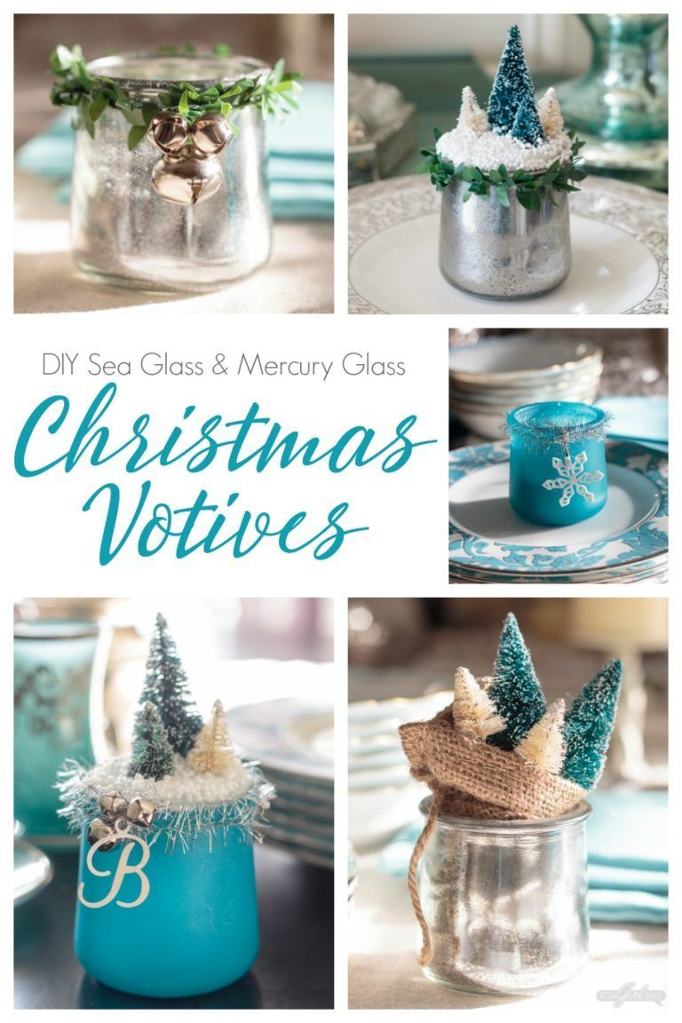 Turn Glass Yogurt Jars Into Stunning Sea Glass And Mercury Glass Votives Add Bottlebrush Tree Crafts With Glass Jars Christmas Votives Mercury Glass Christmas