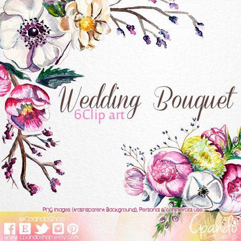 Wedding Flowers Bouquet Watercolor Art Clips Png