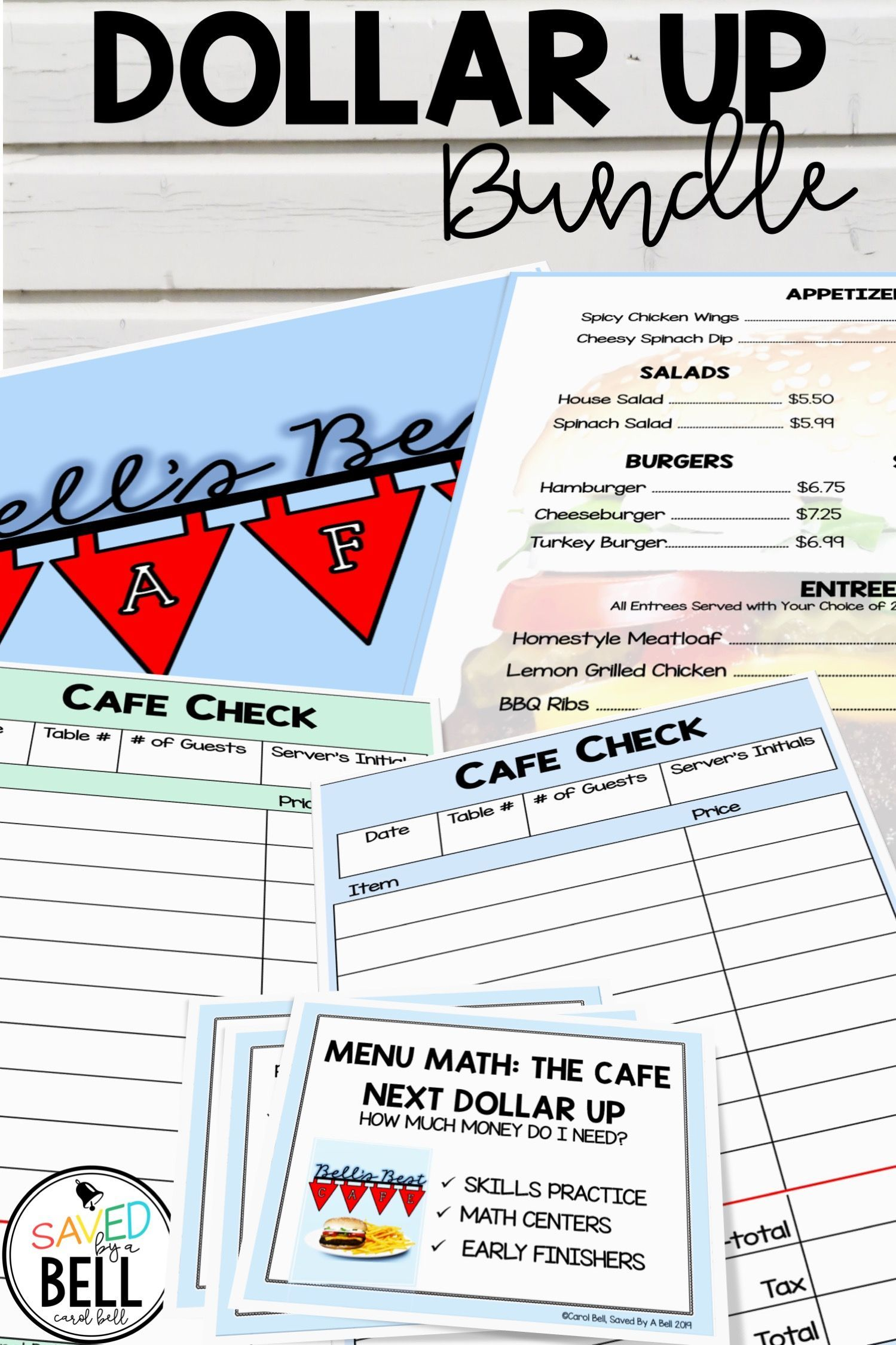 Next Dollar Up Worksheets And Task Card Bundle Menu Math