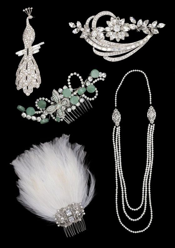 1920s jewelry paired with a really simple silhouette