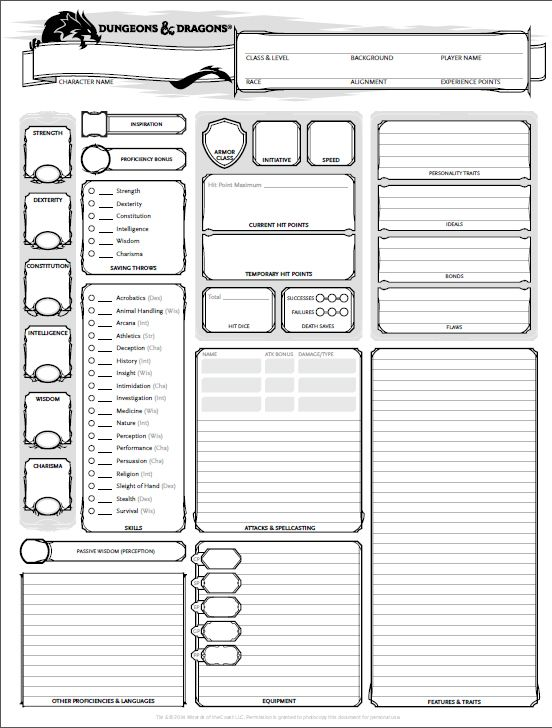Gratifying image in printable dungeons and dragons character sheet